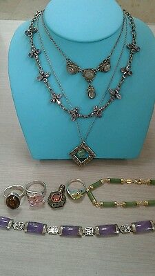 9 pc sterling silver jewelry lot vintage,72.6 g, jade,amethyst, turquoise +more