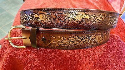 USA Brown Leather American Eagle Belt Size30,32,34,36,38,40,42,44,46,48,50,52,54