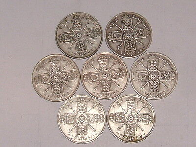 7 silver pre 1920 George V florins, all different dates