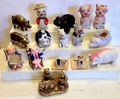 Lot of 16 Vintage Collectible Ceramic/Brass/Plastic Little Pigs