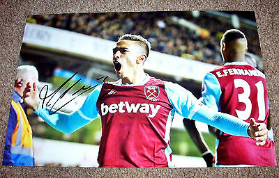 MANUEL LANZINI WEST HAM UNITED HAND SIGNED PHOTO AUTHENTIC GENUINE + COA - 12x8