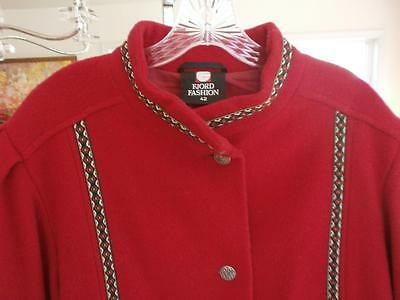 ADULT NORWEGIAN red WOOL FJORD FASHION JACKET FROM  NORWAY pewter fasteners