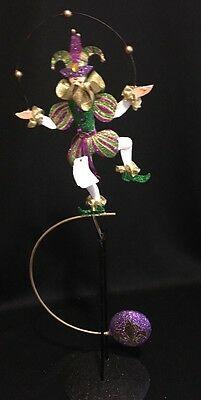 """Katherine's Collection Retired  16"""" Mardi Gras Kinetic Jester Table Display NEW"""