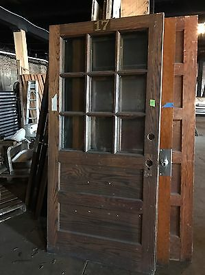 Vintage Oak Entry Door Track Door Slider Door Antique Door School House Door