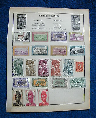 Three Old Album Pages with French Colony Cameroon Stamps. France.