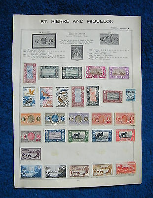 Two Early Album Pages with French Colony St Pierre and Miquelon Stamps. France.