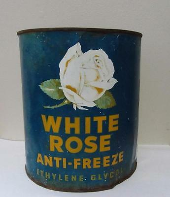 White Rose one gallon Anti Freeze oil tin can Canadian