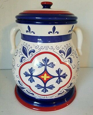Nonni's Red & Blue Ceramic Biscotti Jar - ECU