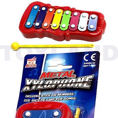 Childrens Colourful Metal Xylophone & 2 Beater Music Instrument Toy Glockenspiel