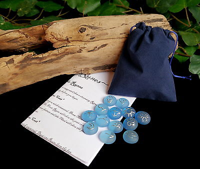 13 WITCHES RUNES & BAG  Blue  Witch Wicca Pagan Divination Gift