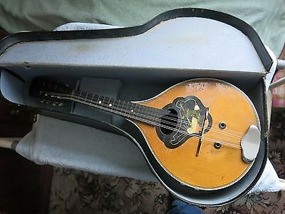 Vintage 8 String Mandolin And Case In Good Condition May Need Tender Loving Care