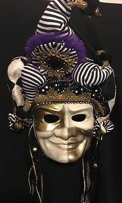 Katherine's Collection Retired Mardi Gras Party Mask Wall Hanging NEW Gold