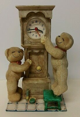 Julie Claire Large ALARM CLOCK - TWO CLEANING BEARS  Resin Figurine  -H: 23 cm