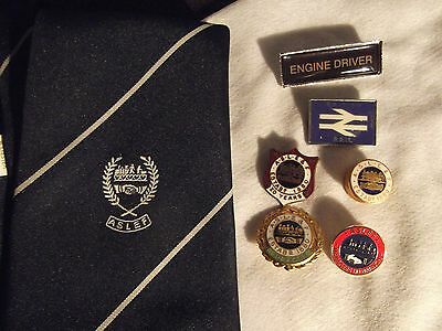 Rare TU BADGES A large collection of ASLEF Railway badges one rare and a tie