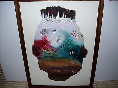 """Original Collage Abstract Painting Framed 16x20"""" Contemporary Mixed Media"""