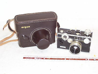 Vintage 35mm Camera Marked Argus In Leather Case