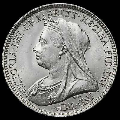 1893 Queen Victoria Veiled Head Silver Sixpence – UNC #2
