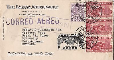 Cover.  Mexico to R.A.F Wittering UK,  via New York USA. Air Mail. 1937.