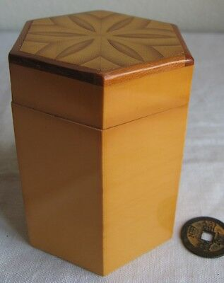 """Chinese Bamboo Box Vintage Octagonal Patterned Lid Hand-Made in China 4"""" Tall"""