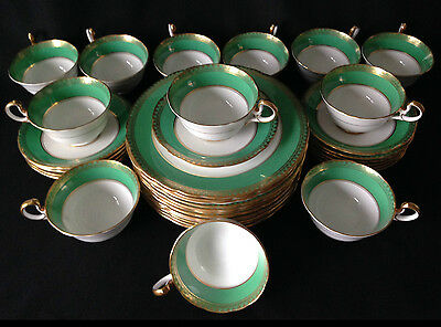 Set of 12 vintage Aynsley green, gold & white trios - cups, saucers & plates