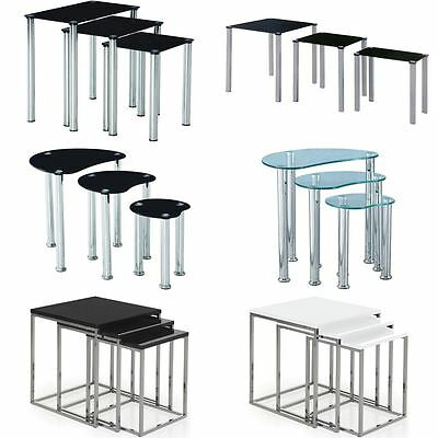 Nest Of Tables Aztec Cara Luna Neptune 3 Set Unit Glass Stainless Steel Side End