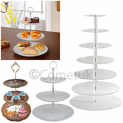 3/7 Layer Tier Round Acrylic Cupcake Stand Wedding Party Cup Cake Holder Rack UK