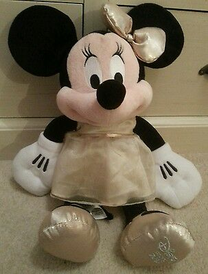 """Disney Store Minnie Mouse 2013 Wearing A Gold Dress Soft Toy 16"""""""