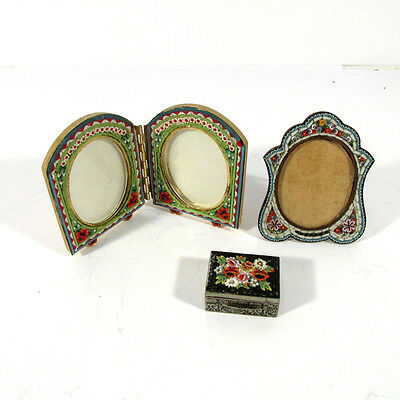 Lot of 3 Vintage Italian Micromosaic Frames and Box