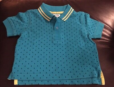 Boys Age 9-12 Month Bows & Arrows Blue Smart Polo Shirt With Diamonds