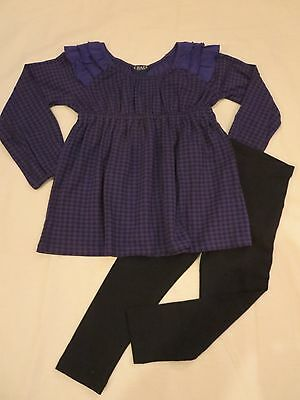 NWT Chaps Toddler Girls Purple Check 2 PC Pants Top Outfit, 3T