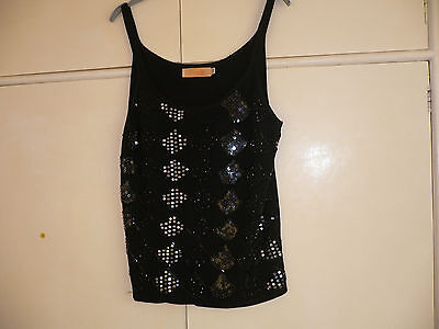 Ladies Black Sequins Evening Top Size L/xl By Shannon Collection