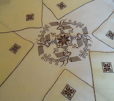 Vtg Antique Swastika/Snowflake/Bird Hand Embroidered Tablecloth/Napkins Yellow