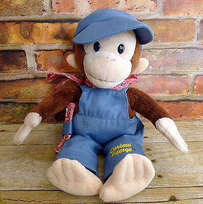 """Curious George Train Conductor Engineer Plush Applause Rare 12"""""""