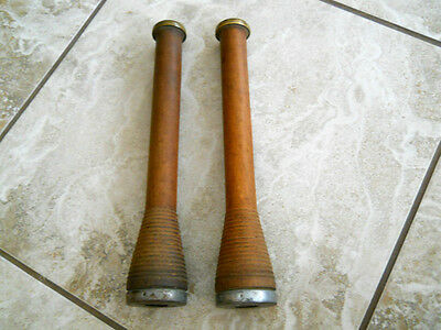 2 Vtg Tall Textile Factory Beehive Wooden Spools Spindles Bobbins Industrial Lot