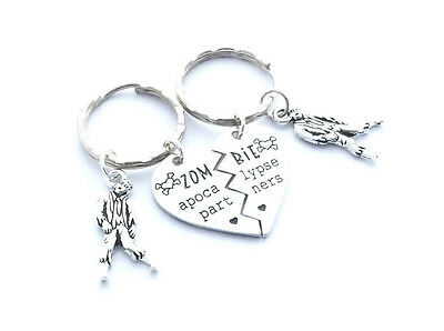 Zombie Apocalypse Partners Keyrings Best Friends Keychains Half Heart Charms TWD