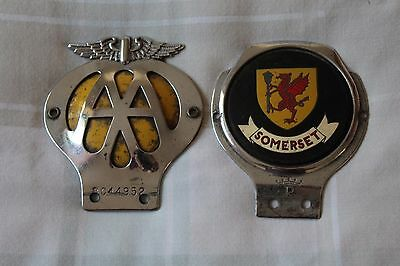 VINTAGE AA CAR CLUB BADGE  and Somerset GRILLE BUMPER MASCOT