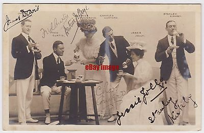 Music hall entertainer Stanley Kirkby with Jessie Jolly etc. Signed postcard