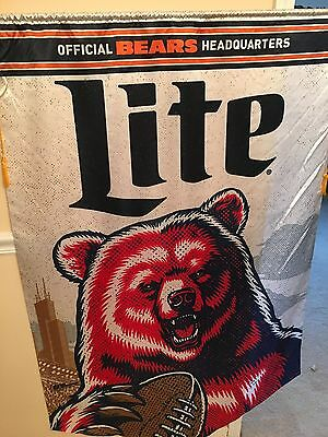Chicago Bears Official Headquarters Miller Lite Beer Bar Flag Sign Soldier Field