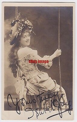 Stage actress Isabel Jay on a swing. Signed postcard