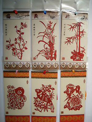 6pc Bookmarks for teacher gifts lot of Wonderful red papercutting handmade craft