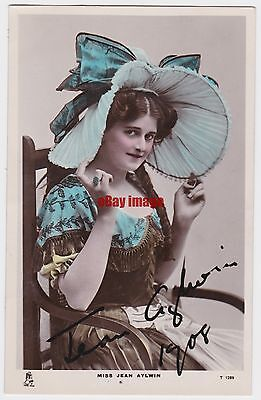 Stage actress Jean Aylwin in costume. Signed postcard dated 1908