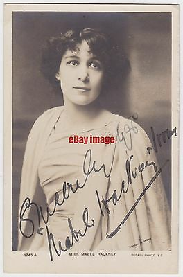Stage actress Mabel Hackney Irving in costume. Signed postcard