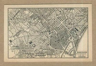 Old map (year 1905) of the City of Barcelone in Spain .