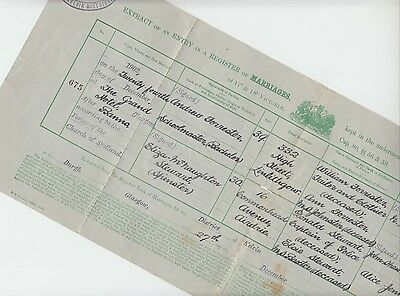 Marriage Certificate 1902, Andrew Forrester, Linlithgow