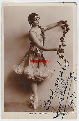 Stage actress and dancer Ivy Shilling in costume. Signed postcard dated 1917