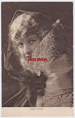 Early film actress Pearl White. The Fatal Ring. Advert postcard