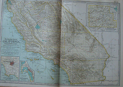 Map 1903 California Southern part United States Century Atlas