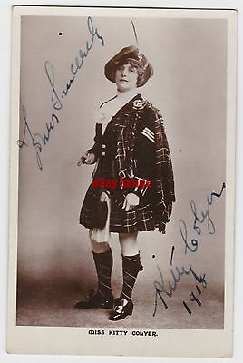 Music hall and pantomime entertainer Kitty Colyer in costume. Signed postcard