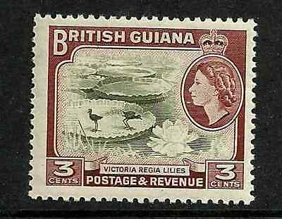BRITISH GUIANA -QE11 DEFINITIVE MINT HINGED 1954 STAMP 3 cents