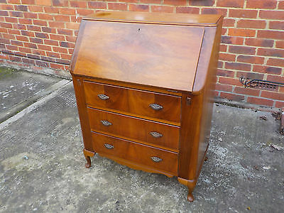 Vintage Small Walnut Bureau With 3 Long Drawers & Will Accommodate A Lap Top